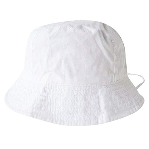 CCSDR Child Girl&Boy Bucket Hat Soft Cotton Fisherman Hat Sunscreen Outdoors Cap with Chin Strap White