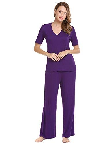 Ekouaer Women's V-Neck Sleepwear Short Sleeve Top With Pants Pajama Set Purple XXL (Pajamas Womens Purple)