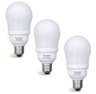 Hour 8000 2700k Compact - Set of 3 Energetic Lighting CFL 19 Watt - 90 Watt Equivalent E26 shape 2700K 1050 Lumen, Warm White, FE152 (8000 Life hours)