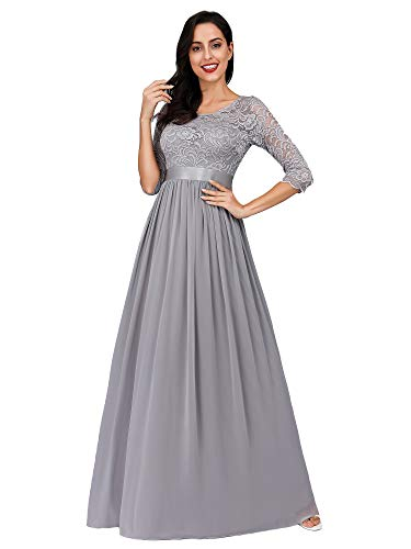 Ever-Pretty Women Elegant Empire Waist Bridesmaid Dresses 12US Grey (Images Of Mother Of The Bride Dresses)