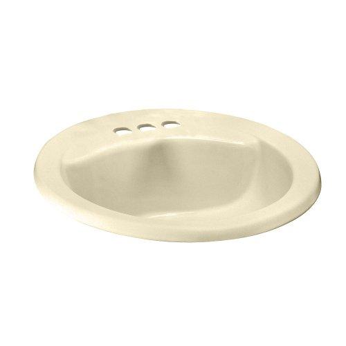 American Standard 0419444EC.021 Cadet Oval Everclean Countertop Sink, 4-Inch Faucet Holes, Bone