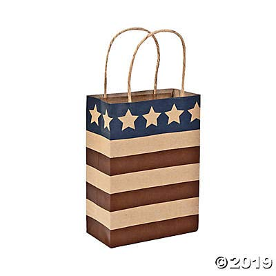 Fun Express - Med Americana Craft Bags for Fourth of July - Party Supplies - Bags - Paper Gift W & Handles - Fourth of July - 12 Pieces: Health & Personal Care