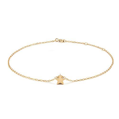 (925 Sterling Silver Star Anklet,Tiny Star Anklets for Women,14K Gold Plated Adjustable Charm Star Ankle Bracelet)