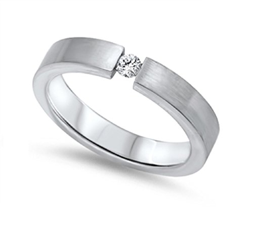 Stainless Steel Tension Set Ring - CloseoutWarehouse Cubic Zirconia Tension Set Classic Band Ring Stainless Steel Size 8
