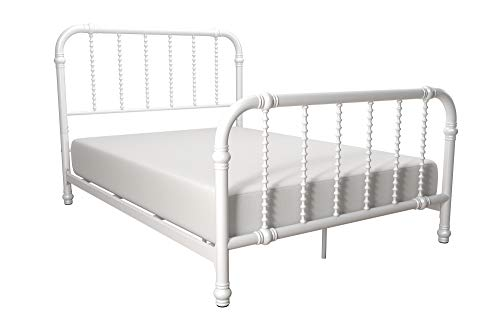 DHP Jenny Lind Metal Bed Frame with Headboard and Footboard, White, Full size ()