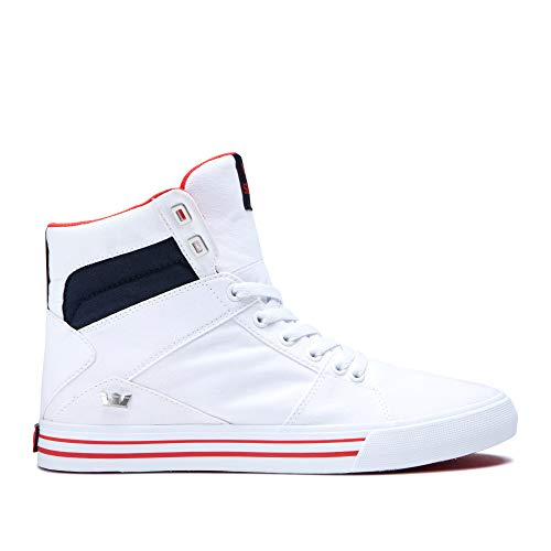 (Supra Aluminum High Top Lace Up Sneaker Shoes, White/Navy-White, Size 12)