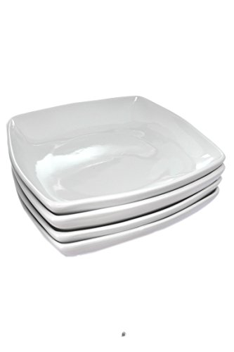 Square Bowl Pasta (Set 4 Large White Porcelain 8