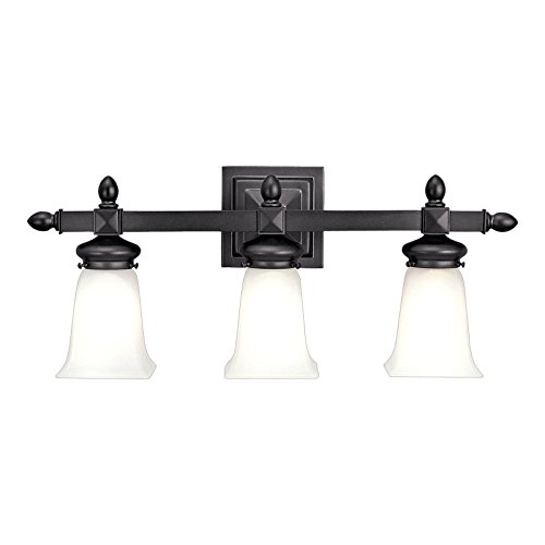 Cumberland 3-Light Vanity Light - Old Bronze Finish with Frosted Glass Shade (Glass Ceiling Tulip Fan Frosted)