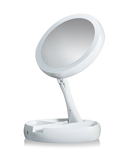 My Fold-Away Distortion-free, LED-illuminated and Two-sided Mirror As Seen On TV (On Dresser Mirror)
