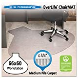 Everlife Chair Mats For Medium Pile Carpet, L-Workstation W/lip, 66 X 60, Clear By: ES Robbins