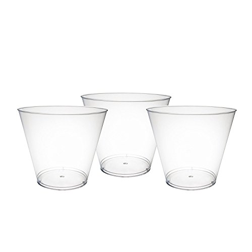 Party Essentials 100 Piece Hard Clear Plastic Party Cups | Old Fashioned Tumblers | Bulk Party Cups | Wedding Tumblers | Plastic Party Punch Cups | Hard Disposable Cups | Plastic Cocktail Glasses (Large Cocktail Plastic Glasses)