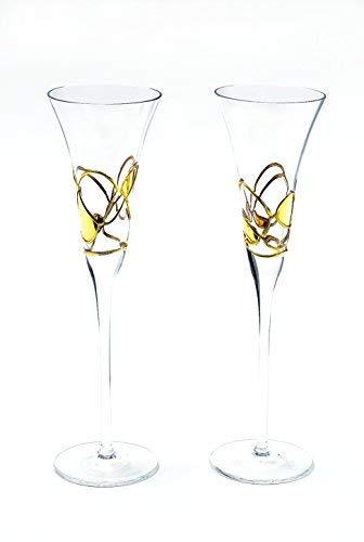 (Champagne Flute Unique Mouth blown Crystal Gold Line ANTONI BARCELONA)