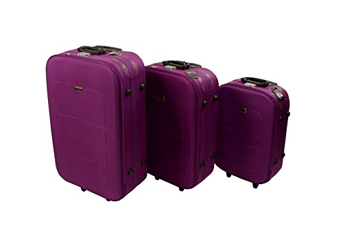 3 teiliges EVA Kofferset lila Polyester Trolley Reisekoffer