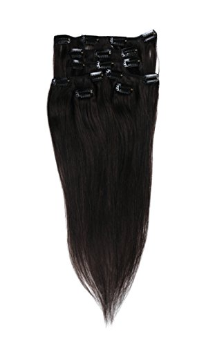 Angelcoco 24 Inch 7pcs Remy Clips In Human Hair Extensions 100g With Clips For Highlight Or Full Head (24inch 7pcs, #1B Natural Black)