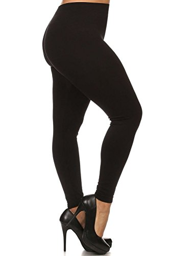 Always Plus Size Solid Color Buttery Soft Full Length Leggings - Black Color