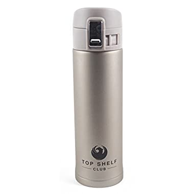 Top Shelf Club | Stainless Steel Commuter Thermos Mug (16 Ounce) Vacuum Insulated 8 Hour Travel Bottle Cup for Hot or Cold Coffee, Tea & Water (Gold)