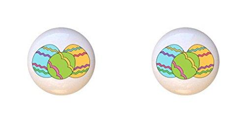SET OF 2 KNOBS - Easter Eggs Design #109 - Easter - DECORATIVE Glossy CERAMIC Cupboard Cabinet PULLS Dresser Drawer KNOBS