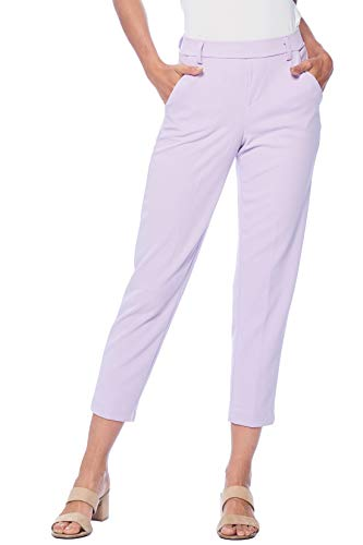 One5One Stretch Pull-on Casual Cropped Work Trouser Office Dress Pants Pockets Size XL Lilac