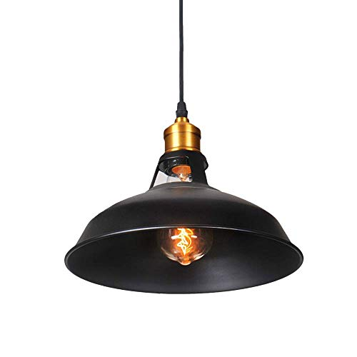 - ZSJ Chandelier Retro Black Metal Lampshade Industrial E27 Restaurant Dining Table Corridor Living Room Hotel Cafe Decoration Lighting