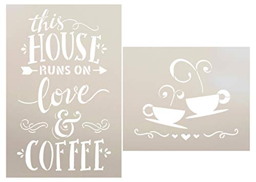 This House Runs On Love and Coffee - 2 Piece by StudioR12   Reusable Mylar Template   Use to Paint Wood Signs - Walls - DIY Kitchen Dining Room Decor (Best Paint To Use On Wood Signs)