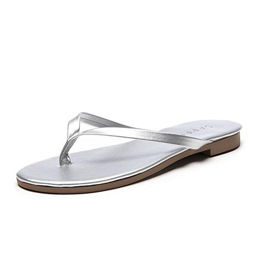 Solid Slippers FORTUN Casual Sandals Color Women's Flat Klops Toe flip Sliver Bottom agdqw8g
