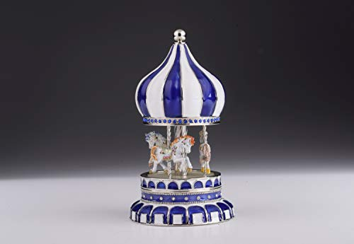 Keren Kopal Blue Musical Carousel with White Royal Horses Wind up Music Box Faberge Style Unique Handmade Gift (Faberge Style Music)