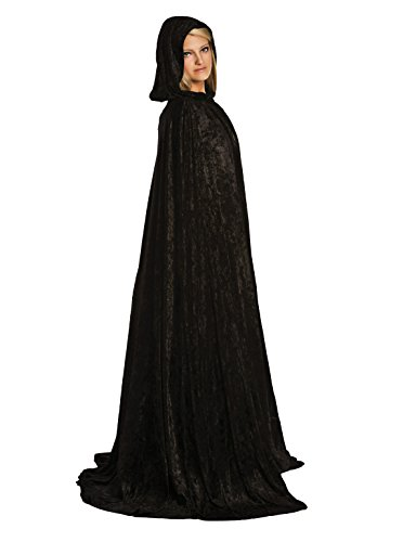Little Adventures Deluxe Velvet Adult Cloak Cape with Lined Hood (Black)