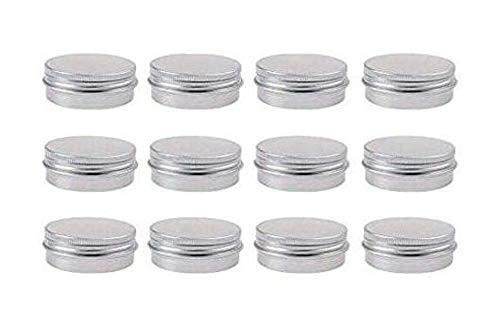 (12Pcs Silver Empty Refillable Aluminum Tins Cosmetic Makeup Cream Sample Storage Container Bottle Vial Jars for Lip Balm Eye Shadow Powder Nail Art Loose Tea(20g/0.67oz) )