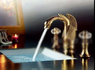 bathroom faucet Lavatory Faucet Vessel SinkThree-hole faucet swans crystal, gold hot and cold taps, Deluxe Continental faucet