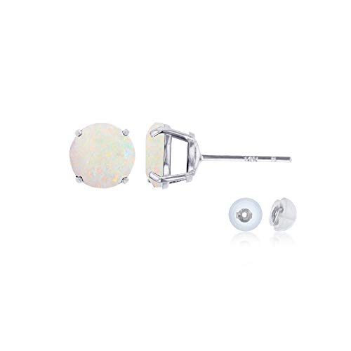 Genuine 14K Solid White Gold 6mm Round Natural Opal October Birthstone Stud - Ring 6mm Cut Emerald Setting