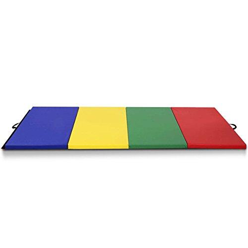4'x8'x2 PU Gymnastics Mat Gym Folding Panel Yoga Exercise Tumbling Pad with Ebook