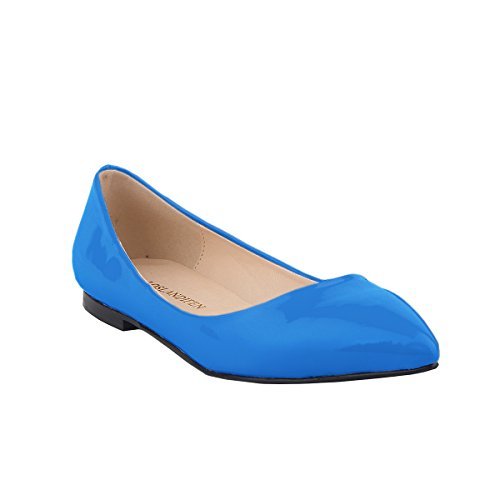 Loslandifen Womens Pu Ball Court Court Flat Skyblue