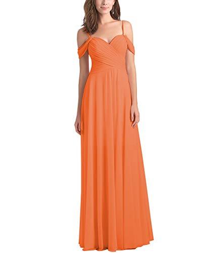 Chiffon Pleated A Line Spaghetti Strap Prom Dress Long Bridesmaid Gowns for Beach Weddings Orange Size 14