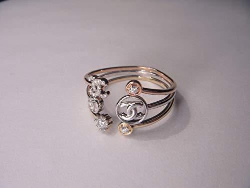 (Gorgeous 14K White 2-Tone Gold Chanel Diamond Band Ring)