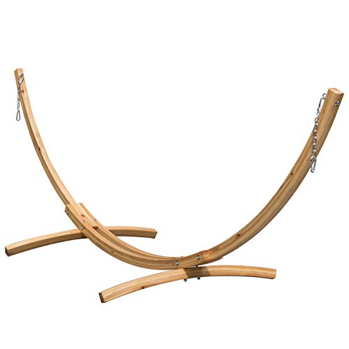 Lazy Daze Hammocks 10 Foot Russian Pine Hardwood Arc Frame Hammock Stand with Hooks and Chains