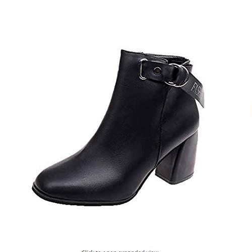ZHRUI High Heels Heels Heels Stiefeletten, Damenstiefel, High Heels, viereckiger Kopf, Dicker Absatz (Farbe   Schwarz, Größe   38) b25b50
