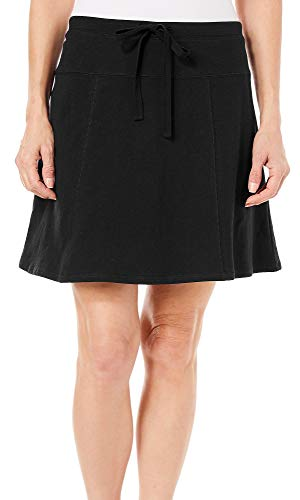 Coral Bay Womens Solid French Terry Drawstring Skort Large Black