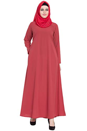 AbayaLooks Libas Flamingo A-Line Simple Abaya Burkha for Women_Small