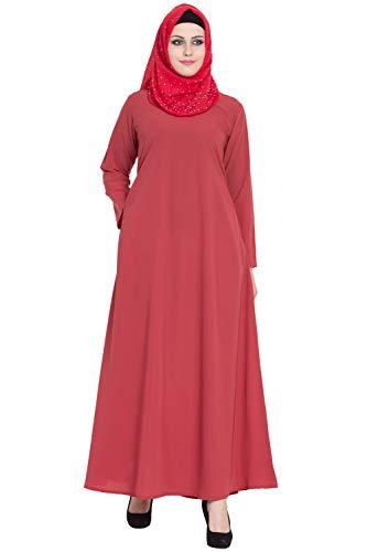 AbayaLooks Libas Flamingo A-Line Simple Abaya Burkha for Women_Small