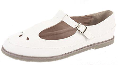 shoeFashionista Ladies Geeks T bar Flat Pumps Casual Girls Vintage Retro Cut Out Office Pumps Shoes Size Style A - White