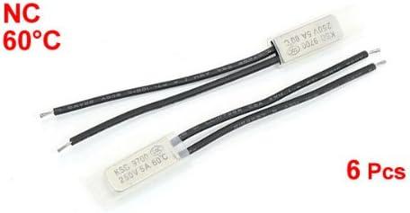 Sourcingmap 4 piezas interruptor de temperatura del termostato bimet/álico 60 grados cent/ígrados nc ksd9700