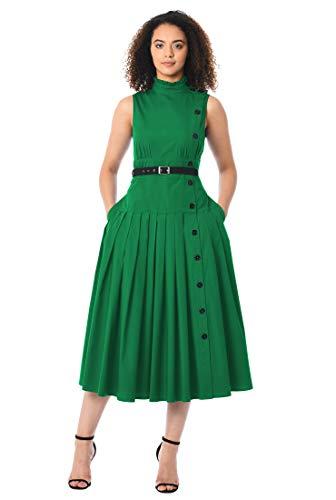 eShakti FX Cotton poplin Faux Side Button Dress 2X-20W Juniper Green/Black - Juniper Green Apparel