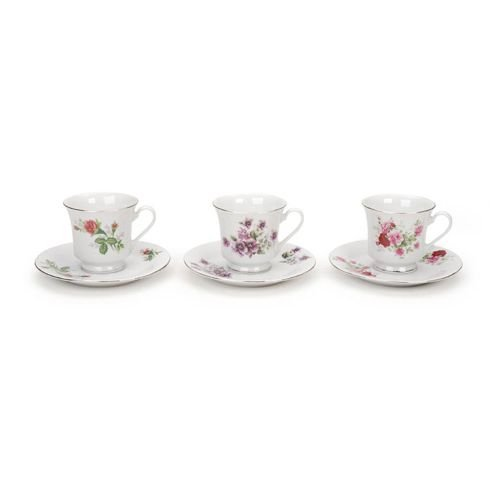 48 Assorted Floral Bulk Porcelain Tea Cups and Saucers Near Wholesale by Darice (Image #1)