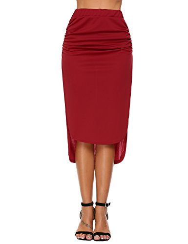 Ruched Back Pencil Skirt - 1