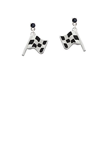 (Checkered Race Flag Black Crystal Post Earrings)
