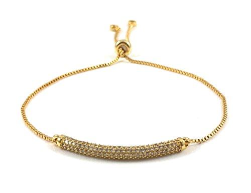 Women's Gold Pave CZ Bar Slider Bracelet ()