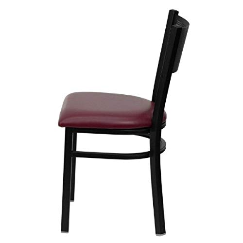 Modern Style Metal Dining Chairs School Bar Restaurant Commercial Seats Grid Back Design Powder Coated Frame Finish Home Office Furniture - (1) Burgundy Vinyl #2150