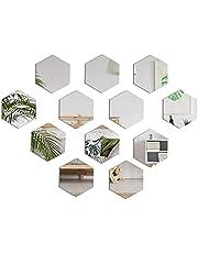 Hexagon Mirror Tile Wall Stickers, 12 Stuks 3D Acryl Decor Spiegel Muurstickers op Moderne Stickers voor Muurschildering Thuis Woonkamer Slaapkamer Sofa Achtergrond, Zilver (8 x 8 cm)