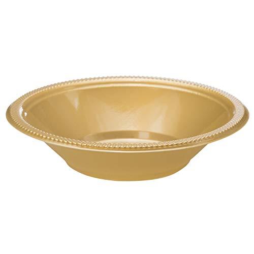 Exquisite 12 oz Gold Plastic Bowls II 50 Count Bulk Pack Disposable Party Bowls II Premium Quality Plastic Soup Bowls for Parties ()