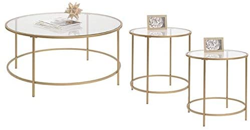 Amazon Com Home Square 3 Piece Coffee Table Living Room Set With Coffee Table And 2 End Table In Satin Gold Furniture Decor